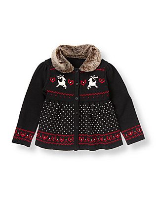 Classic Black Reindeer Fair Isle Cardigan at JanieandJack