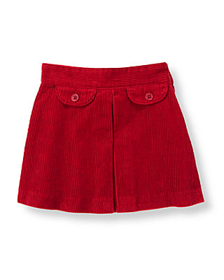 Red Holly Pleated Corduroy Skirt at JanieandJack