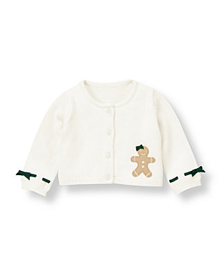 Baby Girl Jet Ivory Gingerbread Crop Cardigan at JanieandJack