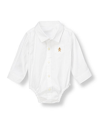 Baby Boy Pure White Dobby Stripe Shirt Bodysuit at JanieandJack