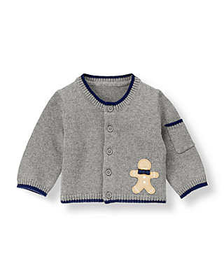 Baby Boy Dark Grey Heather Gingerbread Cardigan at JanieandJack