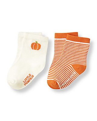 Jet Ivory/Pumpkin Orange Stripe Pumpkin Sock Two-Pack at JanieandJack