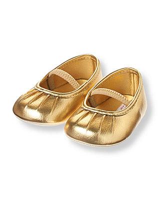 Baby Girl Metallic Gold Pleated Metallic Gold Crib Shoe at JanieandJack