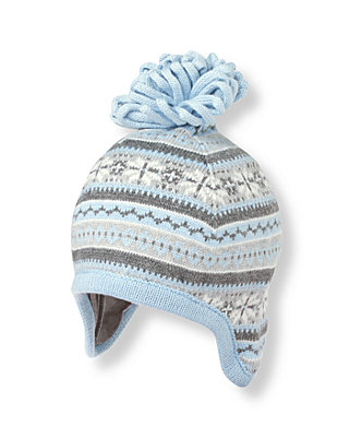 Baby Boy Snow Blue Fair Isle Earflap Hat at JanieandJack