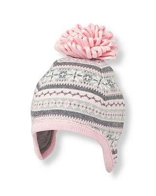 Snow Pink Fair Isle Earflap Hat at JanieandJack