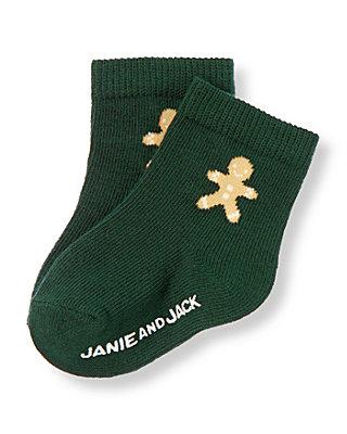 Baby Girl Pine Green Gingerbread Sock at JanieandJack
