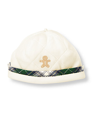Baby Boy Jet Ivory Gingerbread Quilted Velour Beanie at JanieandJack