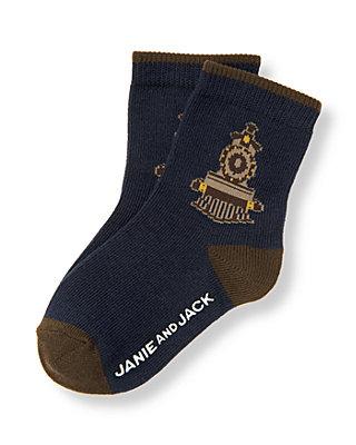Boys Classic Navy Train Sock at JanieandJack