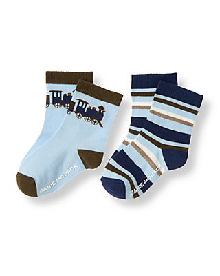 Boys River Blue Stripe Train Stripe Sock Two-Pack at JanieandJack