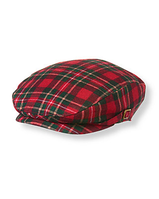 Boys Tartan Red Plaid Tartan Plaid Wool Cap at JanieandJack