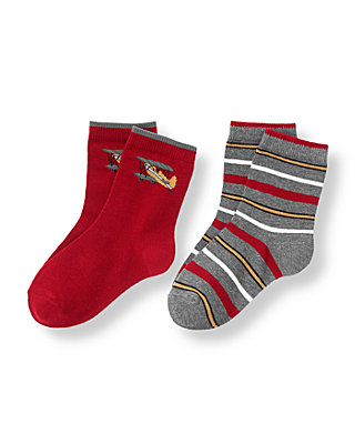 Boys Holiday Red/Dark Charcoal Grey Vintage Plane Stripe Sock Two-Pack at JanieandJack