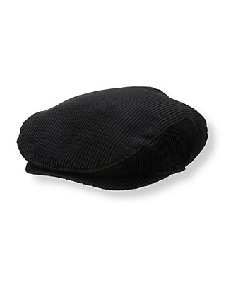 Boys Classic Black Corduroy Cap at JanieandJack