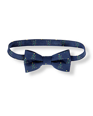 Boys Classic Navy Holiday Trees Bowtie at JanieandJack