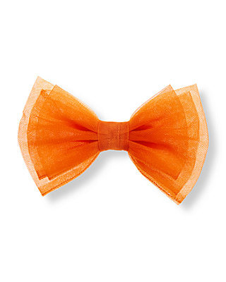 Pumpkin Orange Bow Tulle Barrette at JanieandJack