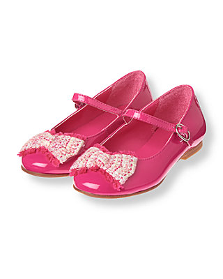 Raspberry Pink Boucle Bow Patent Shoe at JanieandJack