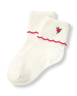 Jet Ivory Hand-Embroidered Floral Sock at JanieandJack