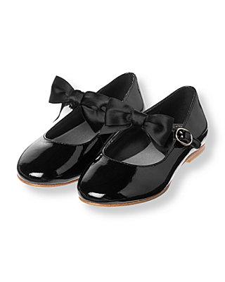 Classic Black Bow Patent Leather Shoe at JanieandJack