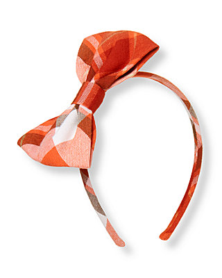 Orange Fox Plaid Plaid Twill Bow Headband at JanieandJack