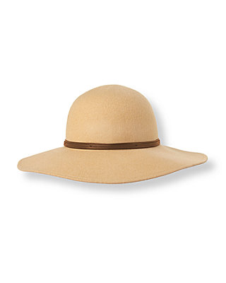 Equestrian Tan Wide Brim Wool Hat at JanieandJack