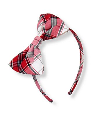 Holiday Red Plaid Bow Plaid Headband at JanieandJack