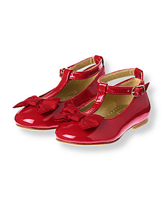Holiday Red Silk Bow Patent Leather Shoe at JanieandJack