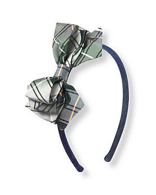 Pine Green Plaid Plaid Silk Bow Headband at JanieandJack