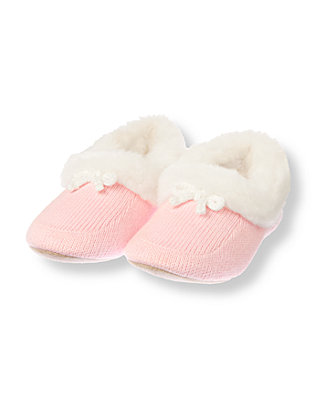 Festive Pink Faux Fur Trim Sweater Slipper at JanieandJack