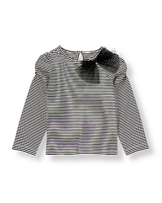 Classic Black Stripe Tulle Bow Stripe Top at JanieandJack