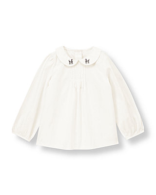 Jet Ivory Poodle Embroidered Collar Top at JanieandJack