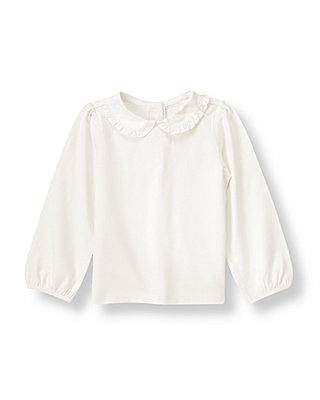 Jet Ivory Ruffle Collar Top at JanieandJack