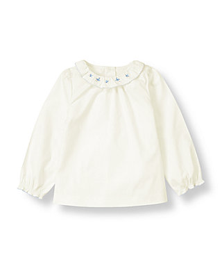 Jet Ivory Flower Embroidered Collar Top at JanieandJack