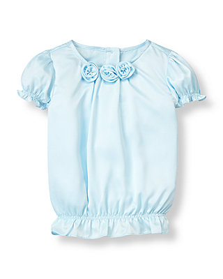 Stardust Blue Rosette Charmeuse Top at JanieandJack