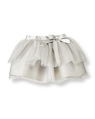 Metallic Silver Metallic Silver Tulle Skirt at JanieandJack