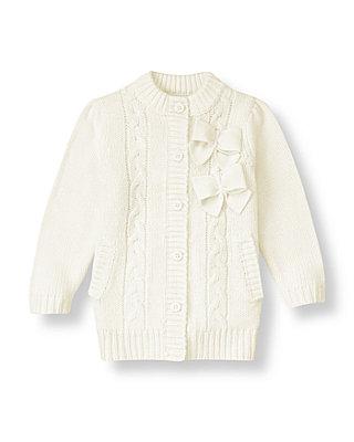 Jet Ivory Bow Cable Sweater Coat at JanieandJack
