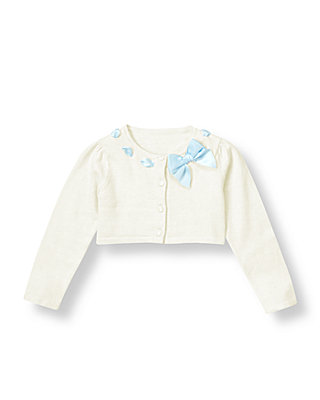 Jet Ivory Ribbon Interlaced Crop Cardigan at JanieandJack