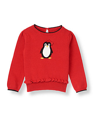 Penguin Red Bow Penguin Sweater at JanieandJack