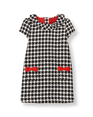 Black Houndstooth Bow Houndstooth Dress at JanieandJack