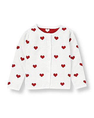 White Heart Sweater Cardigan at JanieandJack