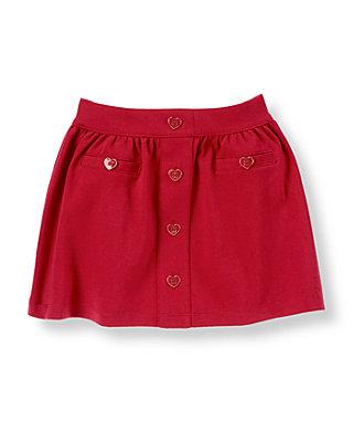 Cupid Red Heart Button Ponte Skirt at JanieandJack