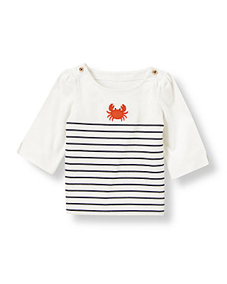 Jet Ivory Crab Stripe Boatneck Top at JanieandJack