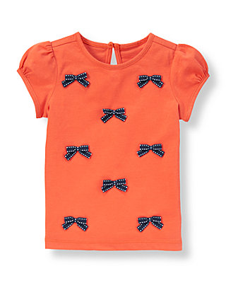 Vibrant Coral Pickstitched Bow Top at JanieandJack
