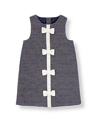 Nautical Navy Bow Pickstitched Canvas Jumper at JanieandJack