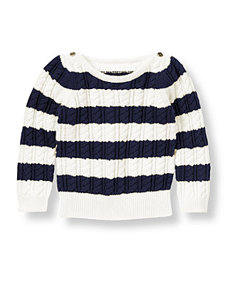 Nautical Navy Stripe Stripe Cable Sweater at JanieandJack