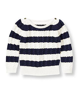 Nautical Navy Stripe Stripe Cable Sweater at JanieandJack