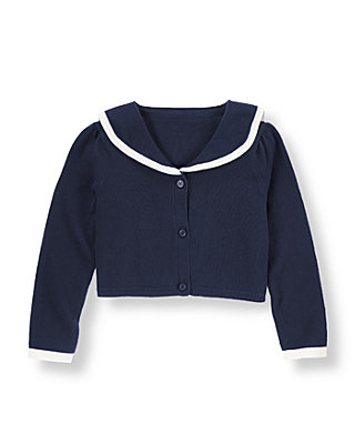 Nautical Navy Sailor Crop Cardigan at JanieandJack