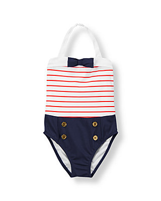 Coral Stripe/Navy Sailor Stripe Swimsuit at JanieandJack