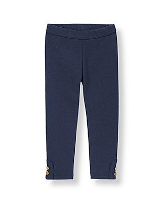 Nautical Navy Button Cuff Ponte Pant at JanieandJack