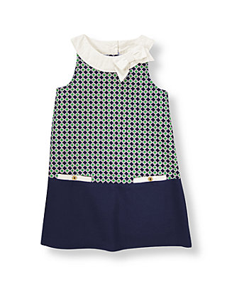 Green/Navy Geometric Geometric Print Pique Dress at JanieandJack