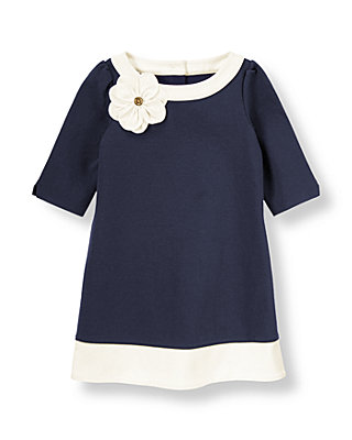 Nautical Navy Corsage Flower Ponte Dress at JanieandJack