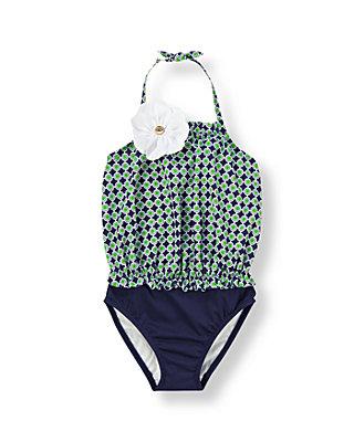 Green/Navy Geometric Geometric Print Swimsuit at JanieandJack